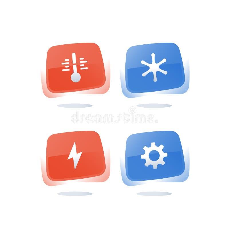 Chłodnicza i grzejna temperatura pojęcia, gorącej i zimnej, lotniczy uwarunkowywać, klimat kontrola, termometru guzik, zimy izola ilustracji