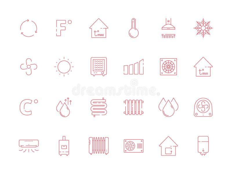 Chłodniczy grzejni symbole Chłodno słońca uwarunkowywać systemy suchego powietrza i wody wektorowy ikony set ilustracja wektor
