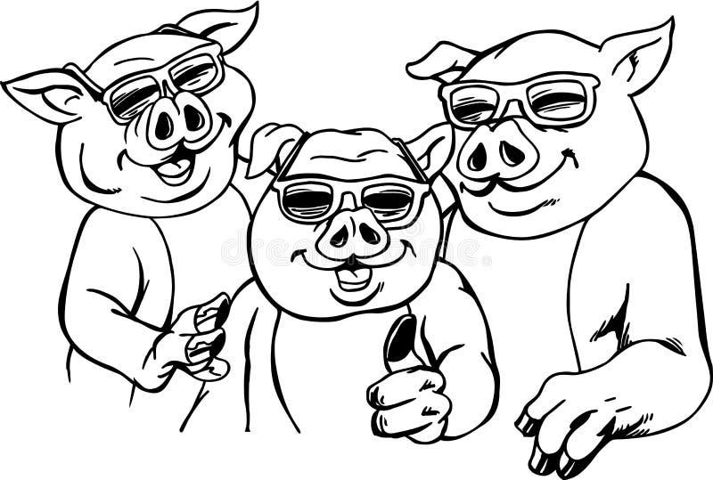Chłodno świni kreskówki wektoru ilustracja ilustracja wektor
