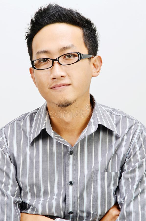 Chłodno Azjatycki biznesmena portret zdjęcia stock