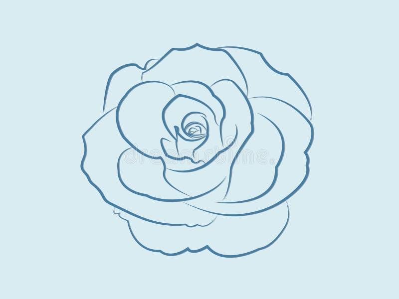 Chłodno błękit róży kwiatu projekt kwitnie w ten sposób pięknego z liniami na lekkim tle ilustracji