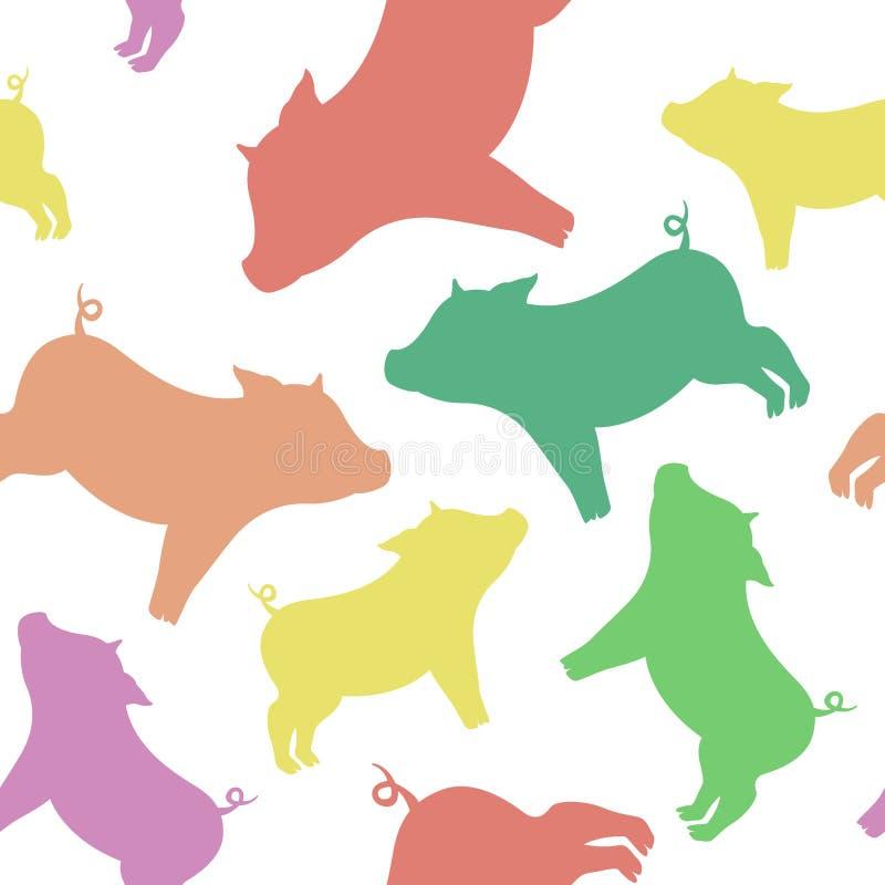 Chłodno bezszwowy wzór od sylwetek świnie różny colo ilustracja wektor