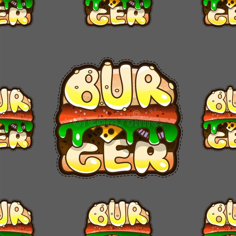 Chłodno bezszwowy wzór z hamburgerami również zwrócić corel ilustracji wektora royalty ilustracja