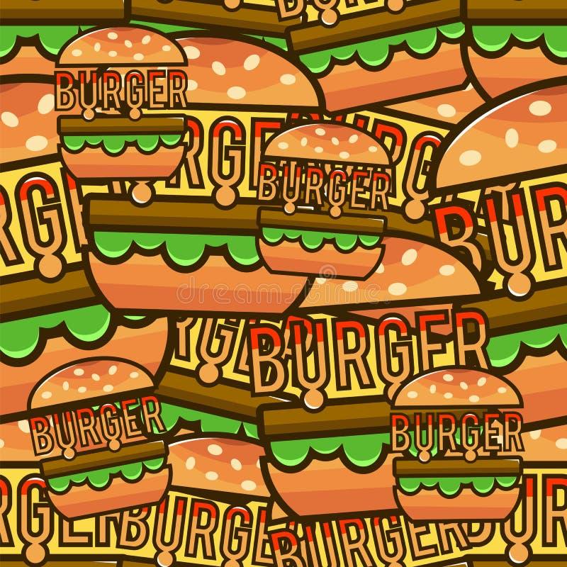 Chłodno bezszwowy wzór z kreskówka hamburgerami Wektorowy illustrati royalty ilustracja