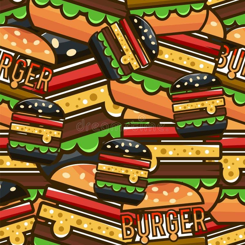 Chłodno bezszwowy wzór z kreskówka hamburgerami Wektorowy illustrati ilustracji