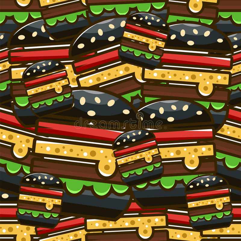 Chłodno bezszwowy wzór z kreskówka hamburgerami Wektorowy illustrati ilustracja wektor