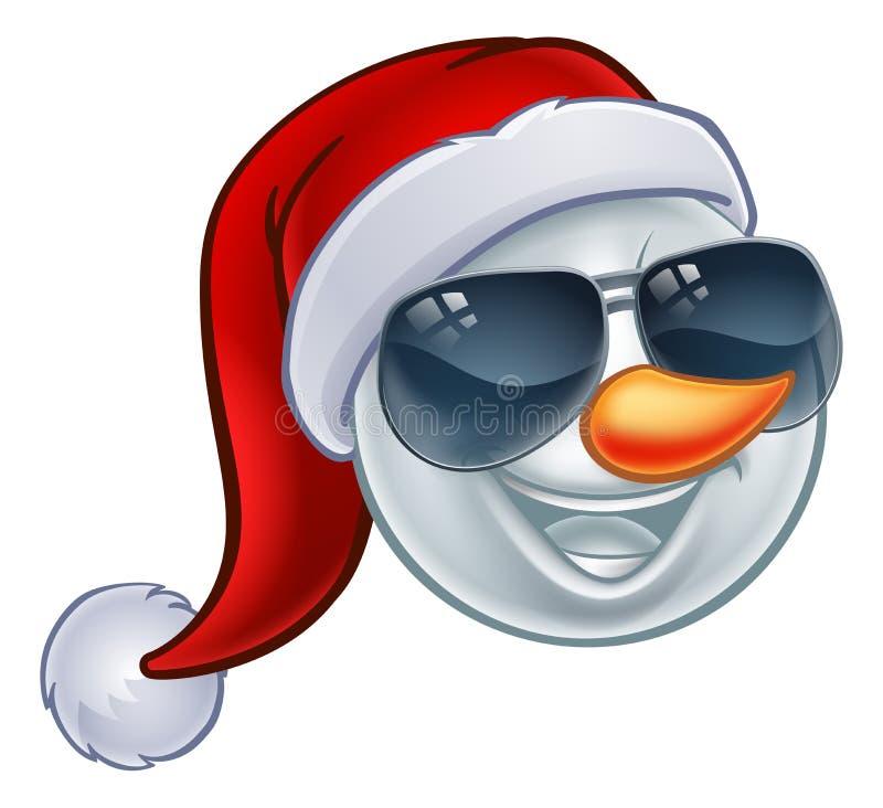 Chłodno Bożenarodzeniowego bałwanu Santa Kapeluszowi okulary przeciwsłoneczni Emoji ilustracji