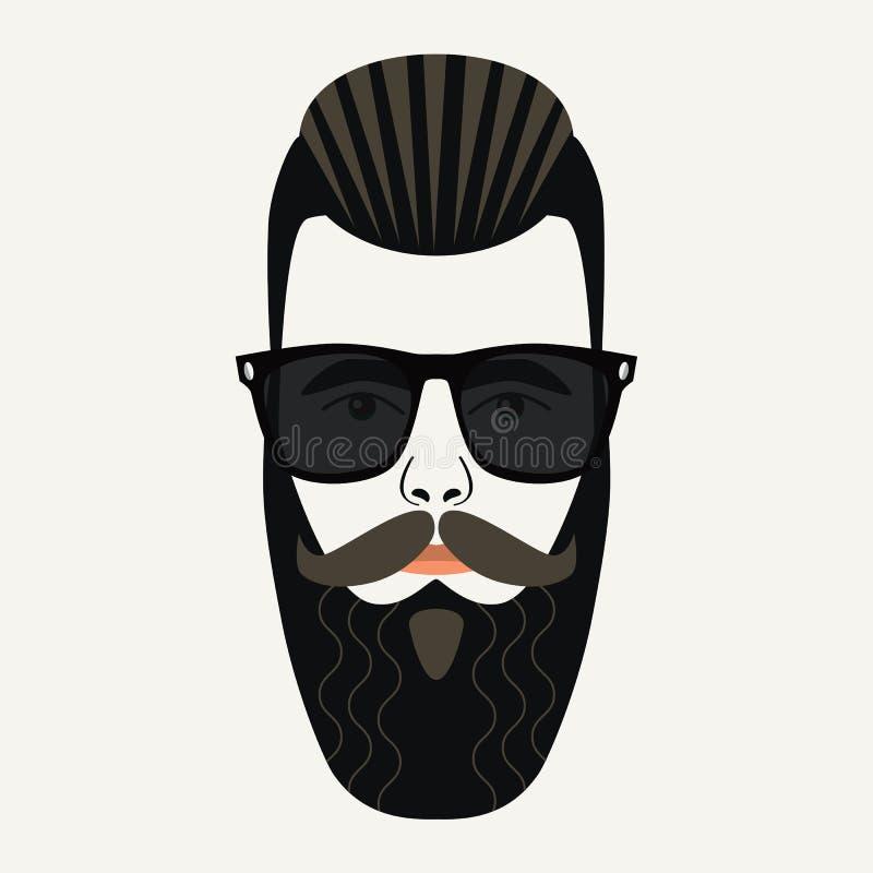 Chłodno broda modnisia samiec z czarnymi obiektywów okularami przeciwsłonecznymi royalty ilustracja