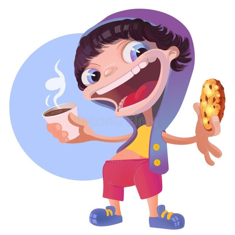 Chłodno chłopiec w Hoodie z Kawowym i Czekoladowym ciastkiem ilustracji