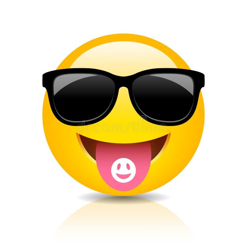 Chłodno clubber emoji wektoru kreskówka royalty ilustracja