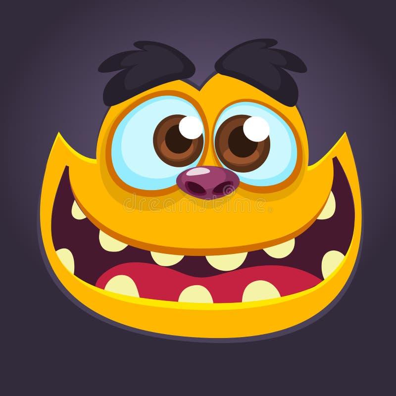 Chłodno czarna potwór twarz Kreskówki wektorowa ilustracja yeti lub Bigfoot ilustracji