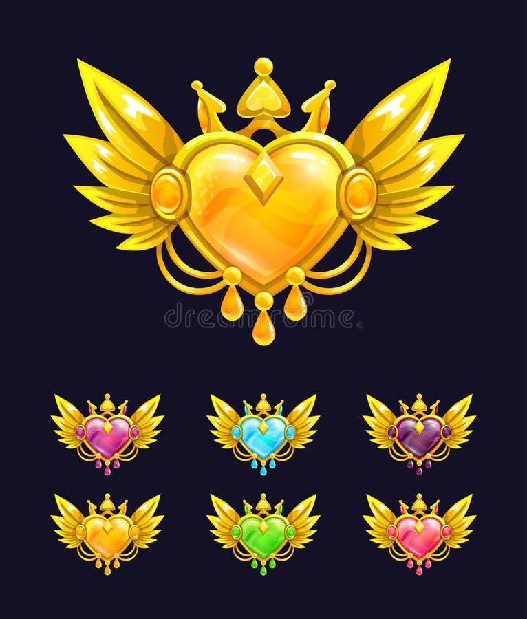Chłodno dekoracyjny serce z złotymi skrzydłami i koroną royalty ilustracja