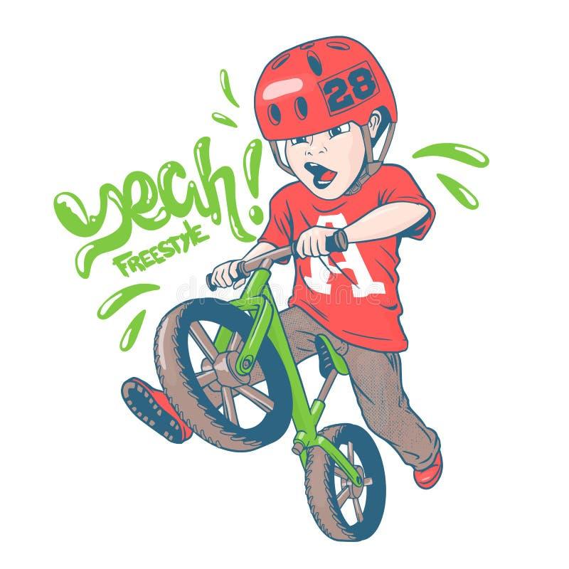 Chłodno dzieciak na balansowym rowerze ilustracji