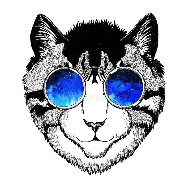 Chłodno dzikiego kota modnisia stylu Modnego zwierzęcego rocznika ilustracyjny wizerunek dla tatuażu, logo, emblemat, odznaka pro ilustracja wektor