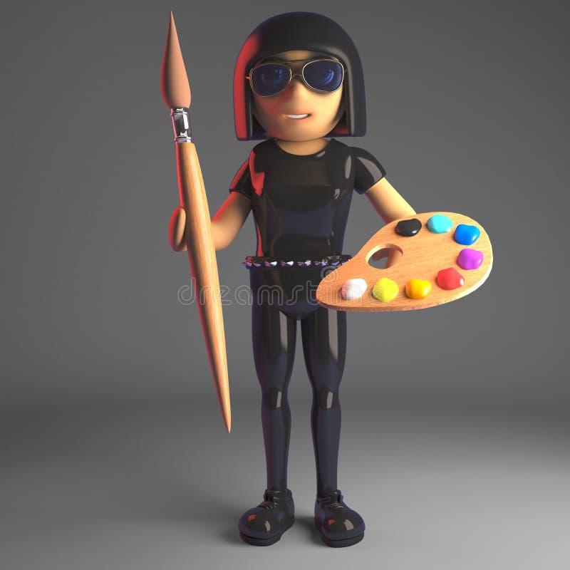 Chłodno goth dziewczyna trzyma palety i farby muśnięcie w rzemiennym catsuit, 3d ilustracja ilustracja wektor