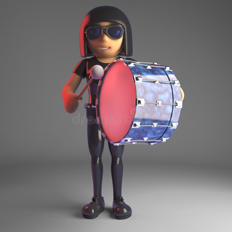 Chłodno goth dziewczyna unwinding bawić się basowego bęben bardzo delikatnie, 3d ilustracja royalty ilustracja