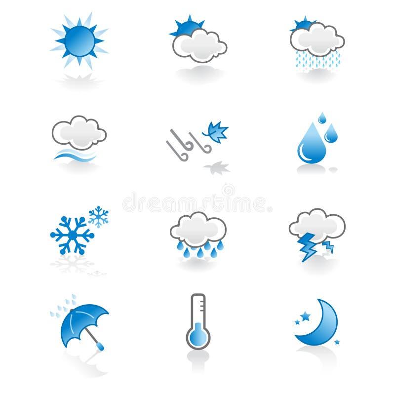 chłodno ikony ustalona prosta pogoda ilustracja wektor