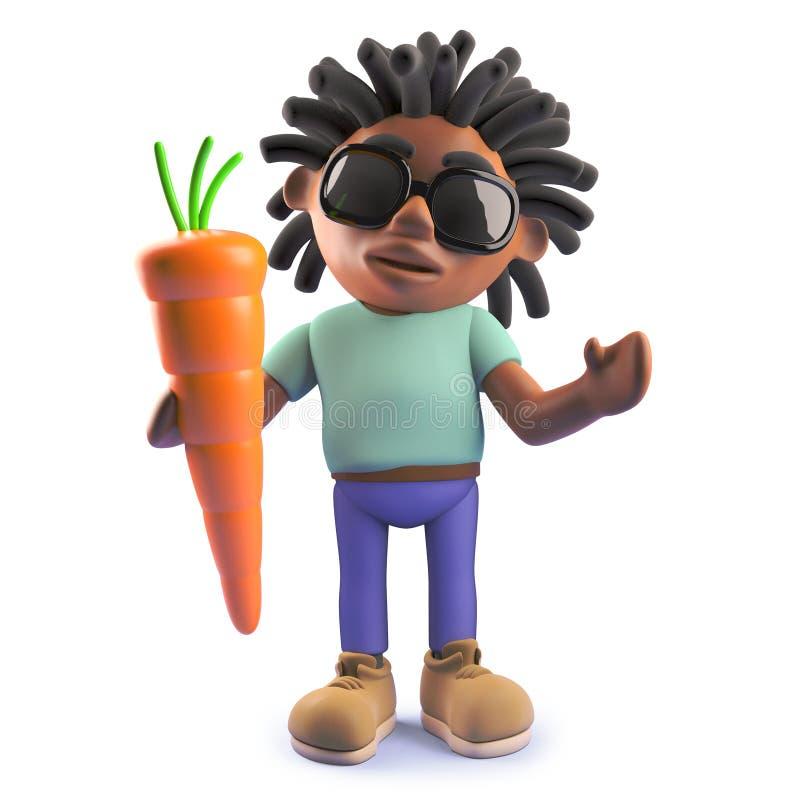Chłodno kreskówki czerni rastafarian mężczyzna trzyma organicznie marchewki, 3d ilustracja ilustracji