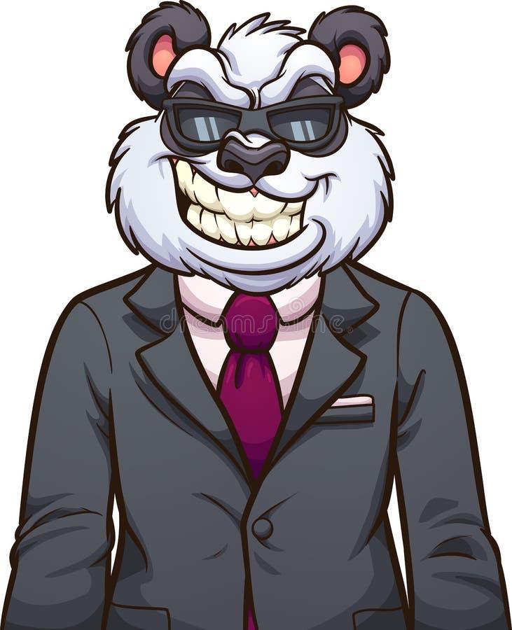 Chłodno kreskówki panda jest ubranym okulary przeciwsłonecznych i kostium ilustracja wektor