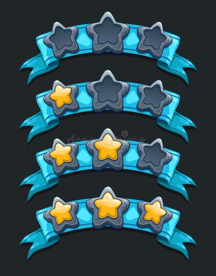 Chłodno kreskówki XP gemowe ratingowe ikony ilustracja wektor