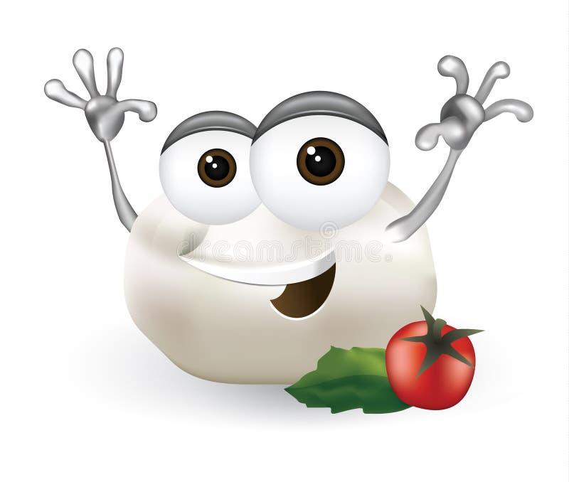 Chłodno mozzarelli serowego postać z kreskówki śmia się, śliczny i śmieszny nabiału charakter z dużym uśmiechem na białym tle, ilustracji
