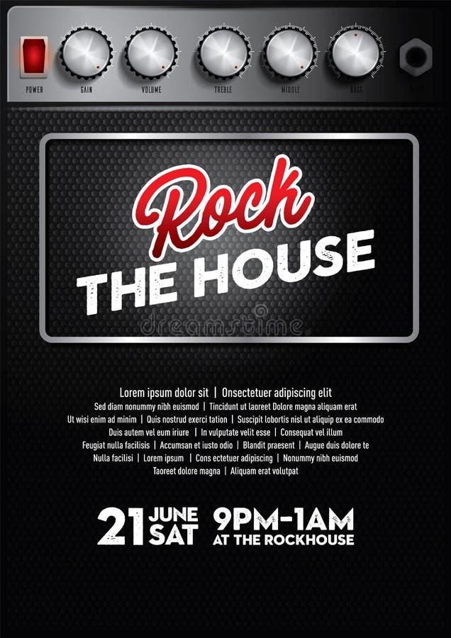 Chłodno muzyka rockowa koncerta plakatowy szablon z amplifikatoru guzikiem royalty ilustracja