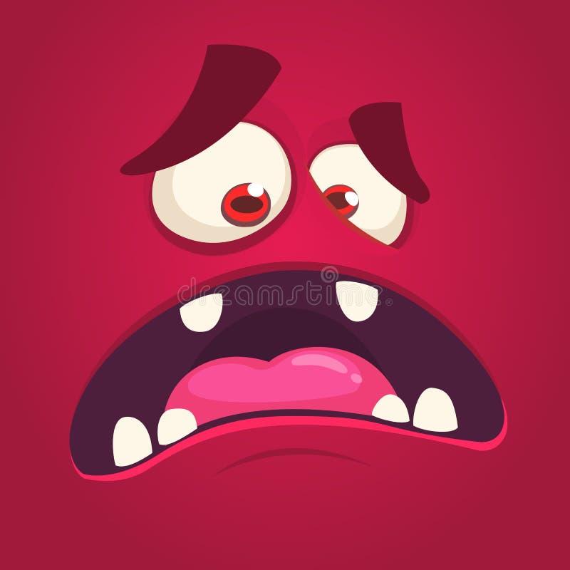 Chłodno okaleczająca kreskówka potwora twarz z dużym usta Wektorowy Halloweenowy czarny potwora krzyczeć ilustracja wektor