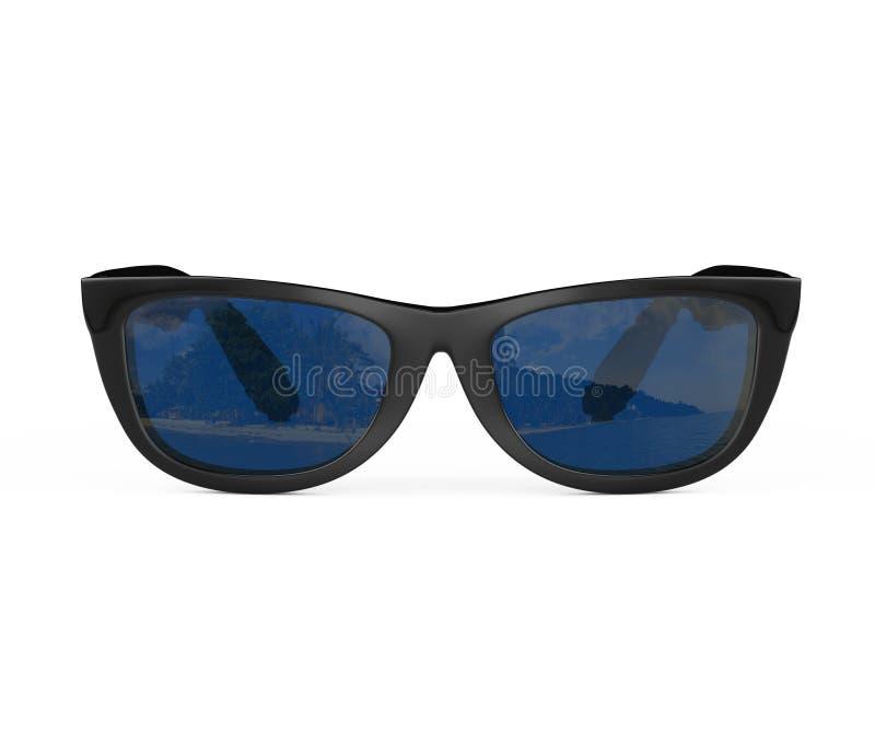 Chłodno okulary przeciwsłoneczni W Czarnej klingeryt ramie świadczenia 3 d royalty ilustracja