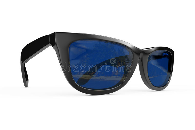 Chłodno okulary przeciwsłoneczni W Czarnej klingeryt ramie świadczenia 3 d ilustracja wektor