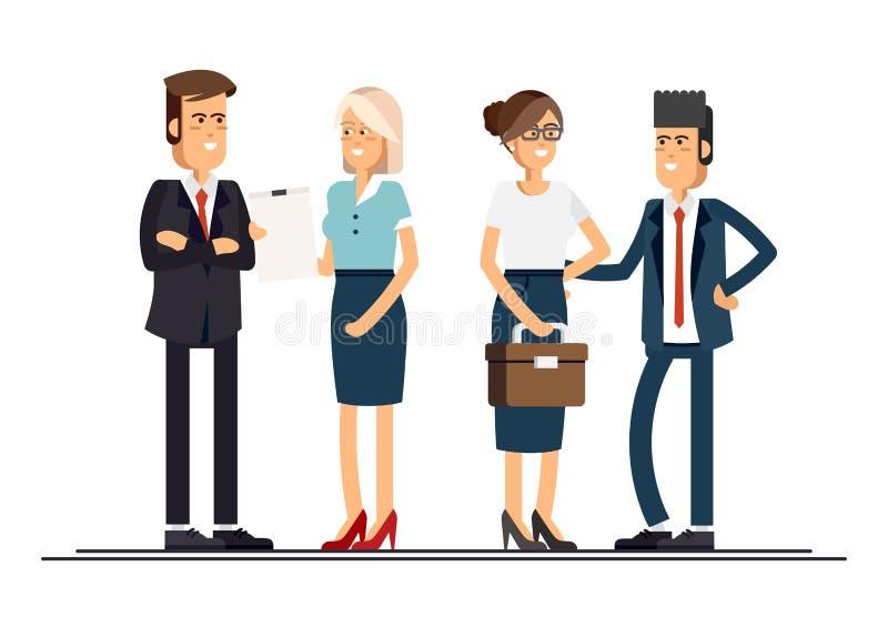 Chłodno płaskiego projekta korporacyjni ludzie biznesu royalty ilustracja
