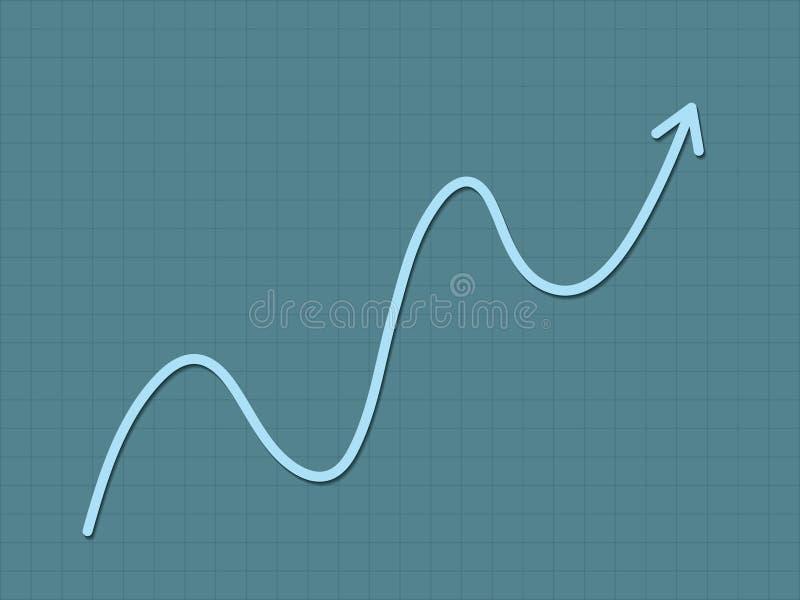 Chłodno, prostego błękita trendu up przyrost dla sukces mapy dla postępu z gładką linią i royalty ilustracja