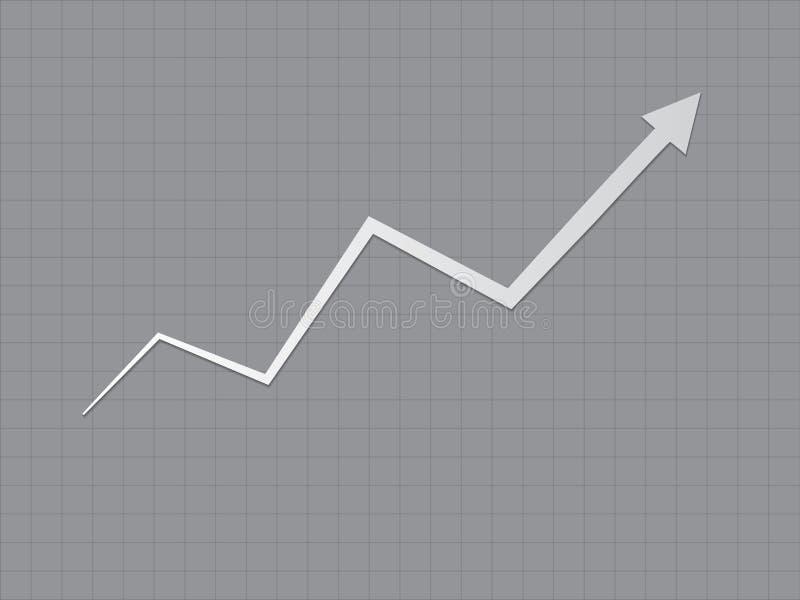 Chłodno, prosty czarny i biały tendencja wzrostowa przyrost dla sukcesu wykresu dla postępu z zygzag linią i ilustracja wektor