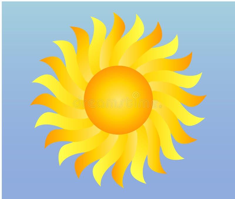 chłodno przerzedże pogodową ikonę - błyszczący słońce w niebieskim niebie ilustracji