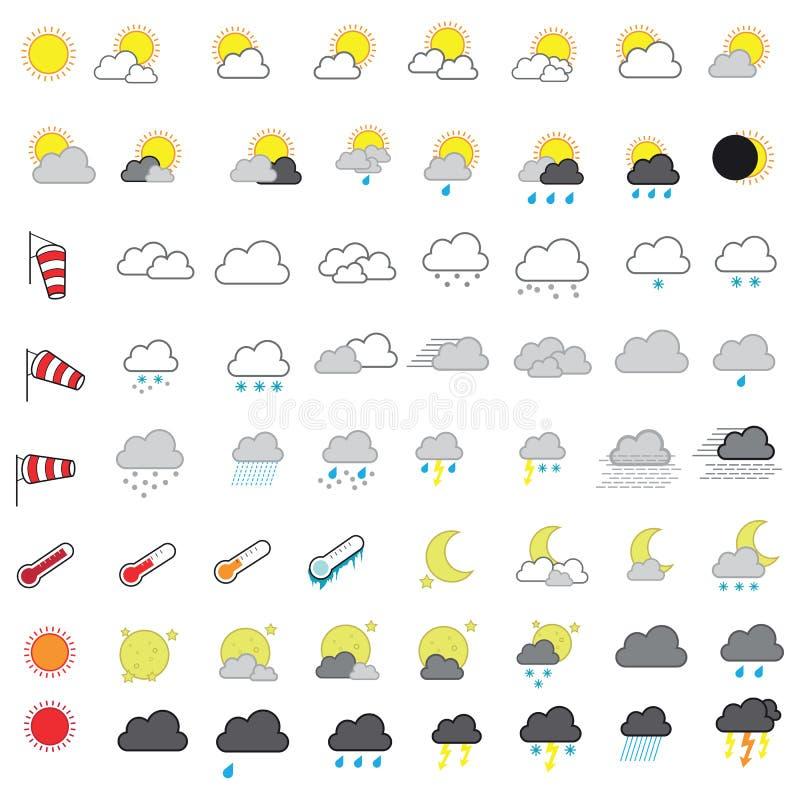 Chłodno Przyglądający Pogodowego prognozowania ikony Wektorowy set ilustracja wektor