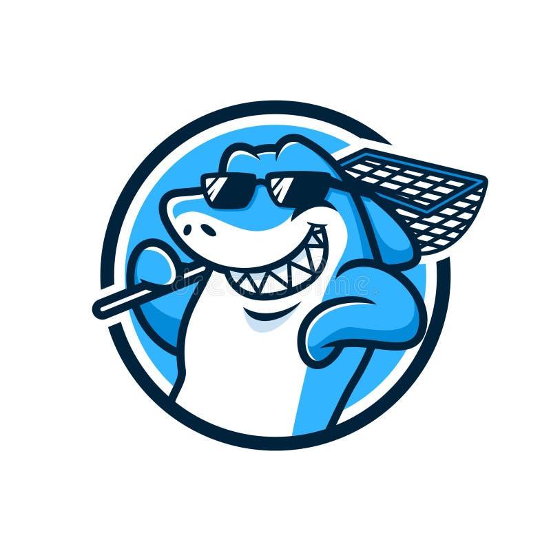 Chłodno rekin maskotki projekta wektor obraz stock