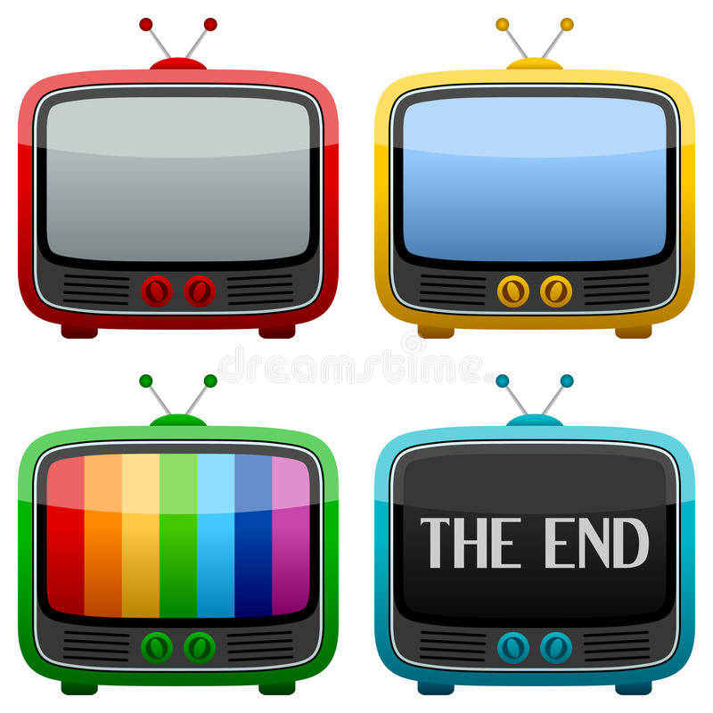 chłodno retro ustalona telewizja royalty ilustracja