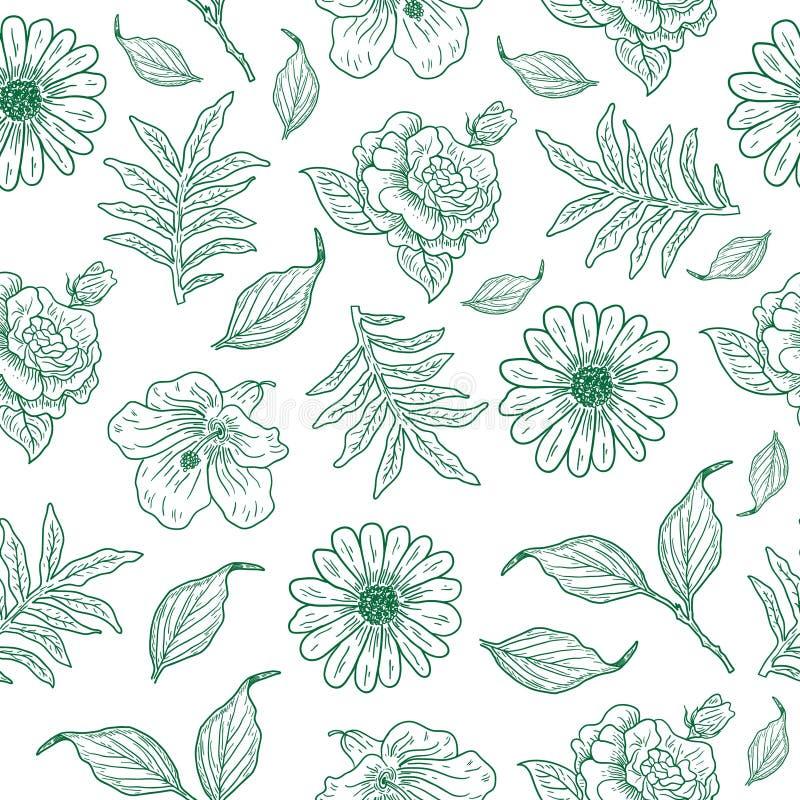 Chłodno rocznika kwiatu ilustracji wzór royalty ilustracja