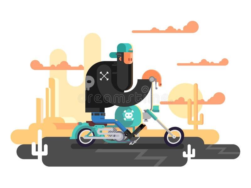 Chłodno rowerzysta na motocyklu royalty ilustracja