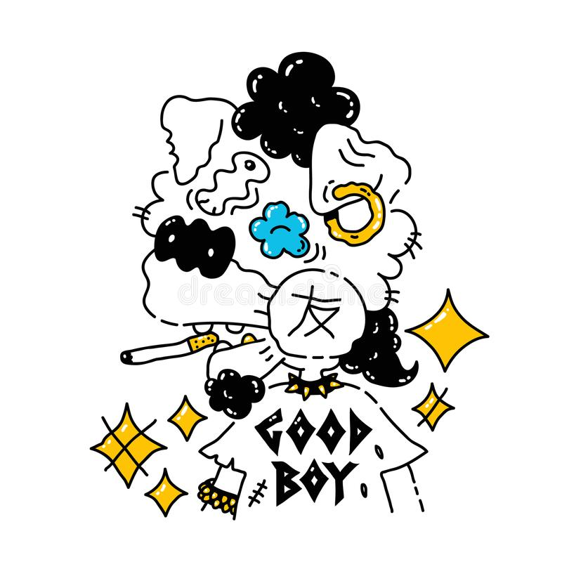 Chłodno ruchu punków pies wektorowy nowożytny styl ilustracja wektor