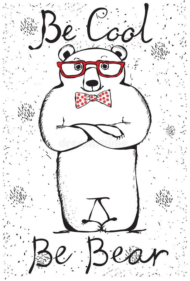 Chłodno wspaniały niedźwiedź Ręka rysujący druku styl ilustracja wektor