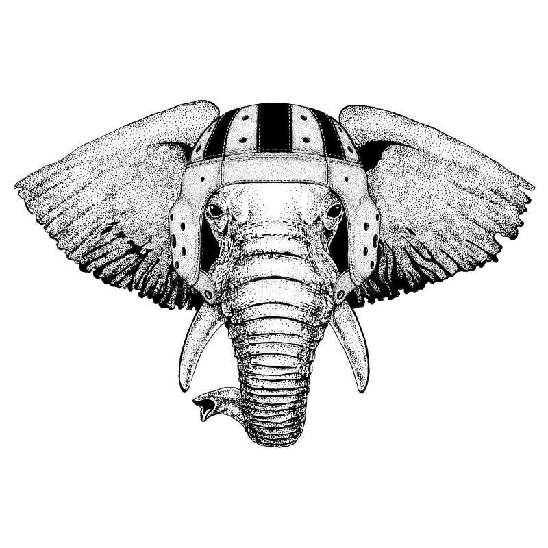 Chłodno zwierzęcy jest ubranym rugby hełma afrykanin lub indyjskiego słonia ręka rysująca ilustracja dla tatuażu, emblemat, odzna royalty ilustracja