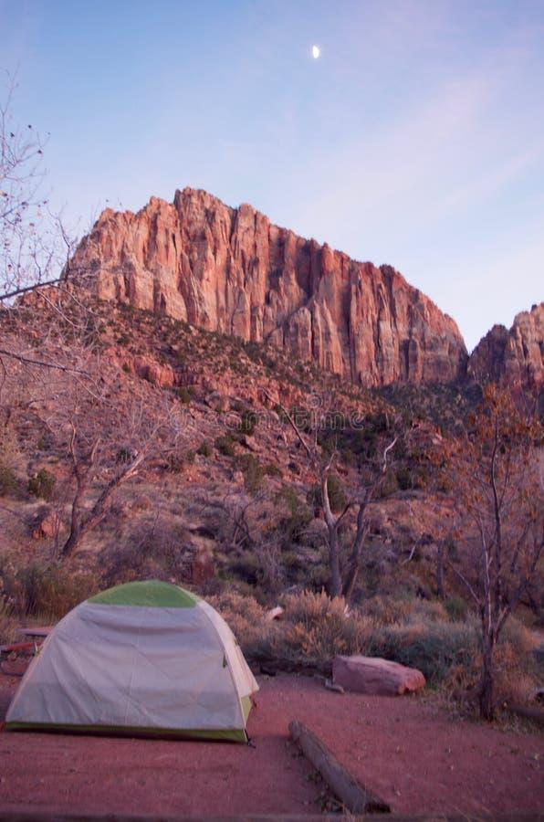 Chłodny Wczesny zima ranku widok w Zion parku narodowym, Utah, usa obraz stock