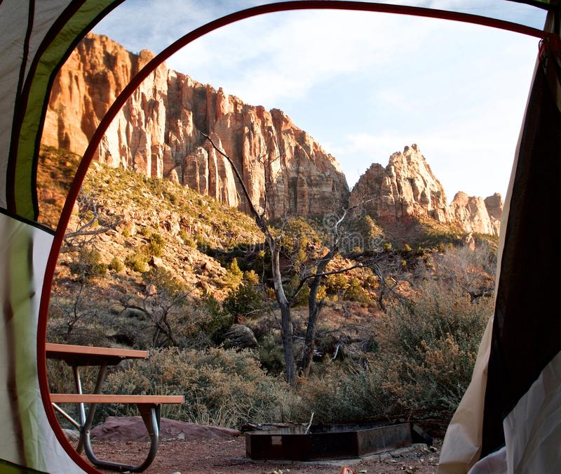 Chłodny Wczesny zima ranku widok w Zion parku narodowym, Utah, usa fotografia royalty free