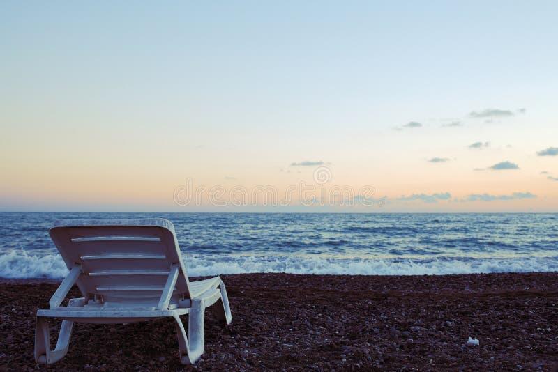 Chłodny wieczór na seashore obrazy royalty free