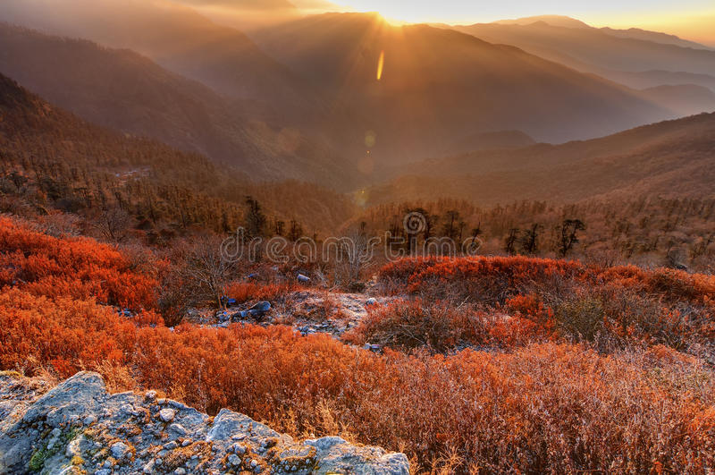 Chłodny zima wschód słońca przy Lunhgthang, Sikkim, Zachodni Bengalia, India obrazy stock