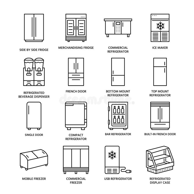 Chłodziarki mieszkania linii ikony Fridge pisać na maszynie, chłodnia, wina cooler, reklamy ważny urządzenie, schładzająca pokaz  ilustracja wektor
