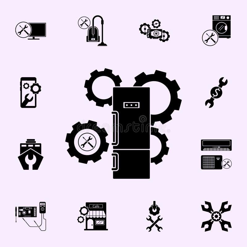 chłodziarki naprawa, przekładni ikona Remontowy ikony og?lnoludzki ustawiaj?cy dla sieci i wisz?cej ozdoby ilustracja wektor