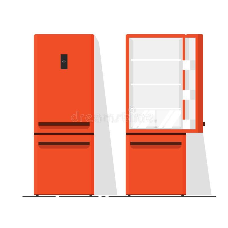 Chłodziarki pusta wektorowa ilustracja, płaska kreskówka otwarta i zamknięty fridge odizolowywający, royalty ilustracja