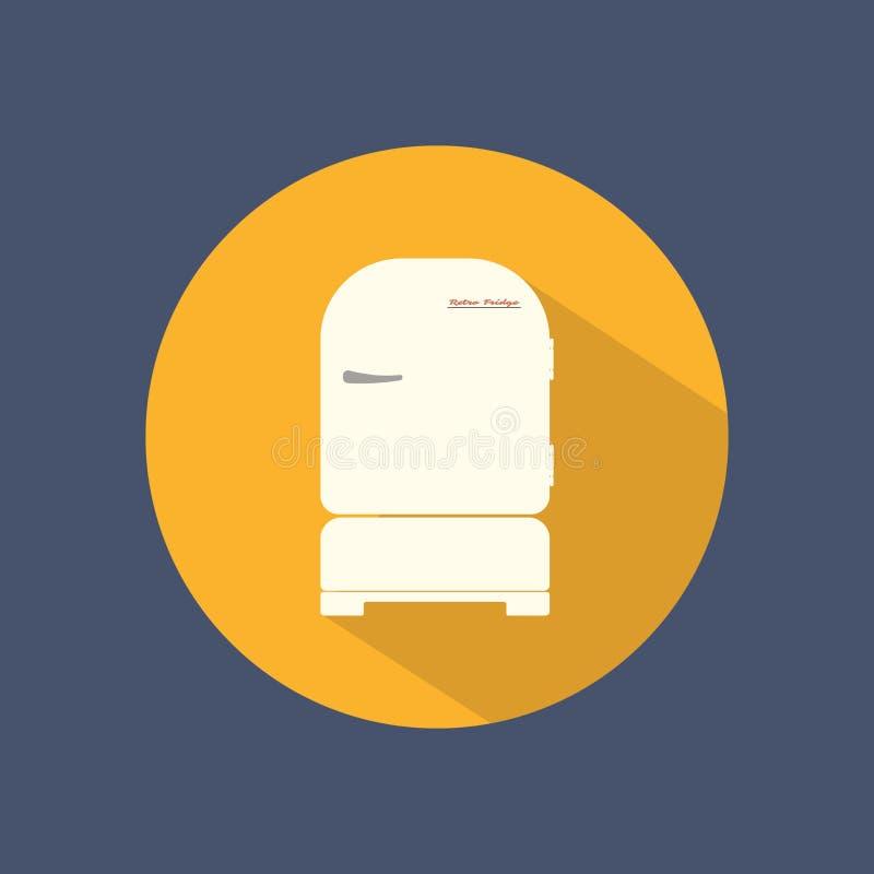 Chłodziarki ustalona płaska round ikona na ciemnym tle ilustracji