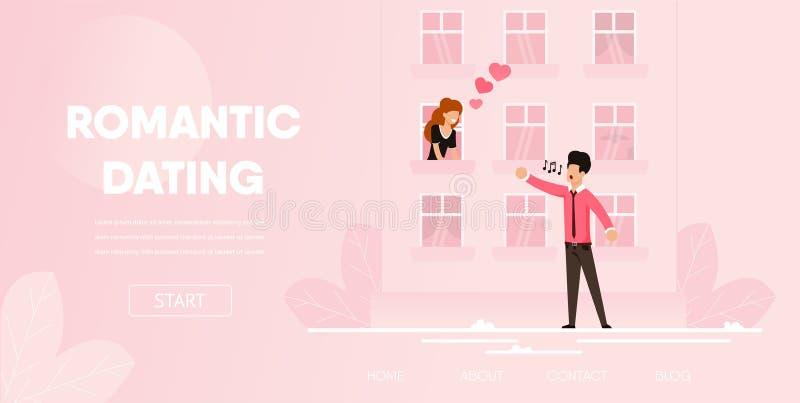 Chłopak Śpiewa Romantyczną Pieśniową serenadę dziewczyna royalty ilustracja